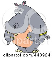 Royalty Free RF Clip Art Illustration Of A Cartoon Big Hippo Measuring His Waist With A Short Tape by toonaday