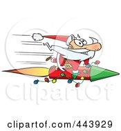 Royalty Free RF Clip Art Illustration Of A Cartoon Santa Riding A Fast Rocket