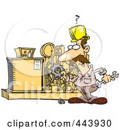 Royalty Free RF Clip Art Illustration Of A Cartoon Mechanic Working On A Machine by toonaday