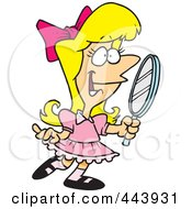 Royalty Free RF Clip Art Illustration Of A Cartoon Pretty Girl Holding A Mirror by toonaday