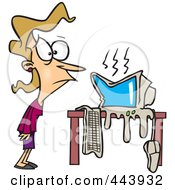 Royalty Free RF Clip Art Illustration Of A Cartoon Womans Computer Having A Meltdown by toonaday