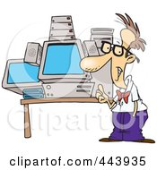 Royalty Free RF Clip Art Illustration Of A Cartoon Mega Computer Geek by toonaday