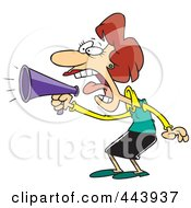 Royalty Free RF Clip Art Illustration Of A Cartoon Businesswoman Using A Megaphone