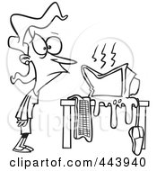 Royalty Free RF Clip Art Illustration Of A Cartoon Black And White Outline Design Of A Womans Computer Having A Meltdown