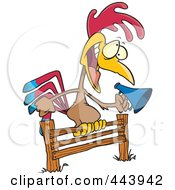 Royalty Free RF Clip Art Illustration Of A Cartoon Rooster Using A Megaphone On A Fence