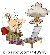 Royalty Free RF Clip Art Illustration Of A Cartoon Mans Laptop Having A Meltdown by toonaday