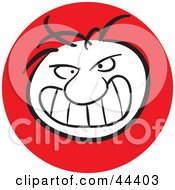 Clipart Illustration Of A Man With A Mad Facial Expression by Frisko