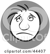 Clipart Illustration Of A Man With A Gloomy Facial Expression