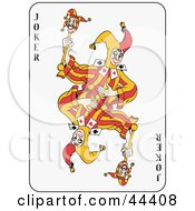 Clipart Illustration Of A Dancing Double Joker Playing Card by Frisko #COLLC44408-0114