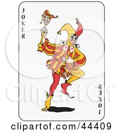 Clipart Illustration of a Dancing Joker Playing Card by Frisko #COLLC44409-0114