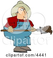 Cowboy Rancher Scooping Cattle Dung With A Shovel
