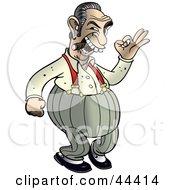Clipart Illustration Of A Chubby Mafia Man Smoking A Cigar by Frisko #COLLC44414-0114