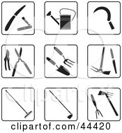 Digital Collage Of Black And White Garden Tool Icons