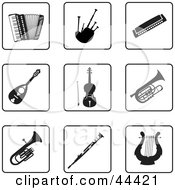 Clipart Illustration Of A Digital Collage Of Black And White Instrument Icons #44421 by Frisko