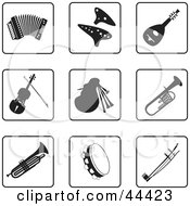 Digital Collage Of Black And White Accordion And Instrument Icons