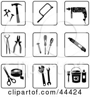 Clipart Illustration Of A Digital Collage Of Black And White Tool Icons by Frisko