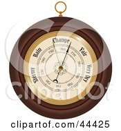 Clipart Illustration Of A Round Wooden Aneroid Barometer