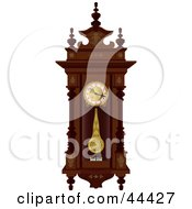 Clipart Illustration Of A Pendulum Swinging On An Antique Wooden Wall Clock