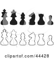 Clipart Illustration Of Rows Of Silhouetted White And Black Chess Pieces by Frisko #COLLC44428-0114