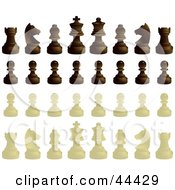 Clipart Illustration Of Ebony And Ivory Chess Pieces