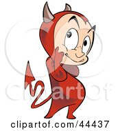 Clipart Illustration Of A Sneaky Little Devil In Thought by Frisko