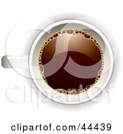 Royalty Free RF Clip Art Of An Aerial View Down On A White Coffee Cup Filled With Joe by michaeltravers