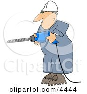 Male Construction Worker Drilling Into A Wall Clipart