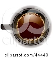 Royalty Free RF Clip Art Of An Aerial View Down On A Black Coffee Cup Filled With Joe by michaeltravers