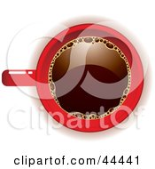 Royalty Free RF Clip Art Of An Aerial View Down On A Red Coffee Cup Filled With Joe by michaeltravers