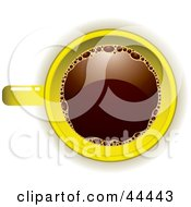 Royalty Free RF Clip Art Of An Aerial View Down On A Yellow Coffee Cup Filled With Joe by michaeltravers