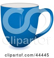 Royalty Free RF Clip Art Of A Profile View Of A Blue Coffee Cup by michaeltravers