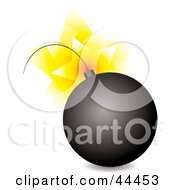 Royalty Free RF Clip Art Of An Exploding Black Bomb