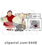 Overweight Man And Woman Washing Clothes Together On Laundry Day Clipart