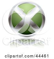 Royalty Free RF Clip Art Of A Circular Website X Button In Green by michaeltravers