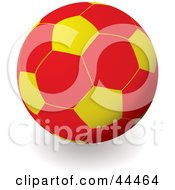 Royalty Free RF Clip Art Of A Red And Yellow Soccer Ball Football by michaeltravers
