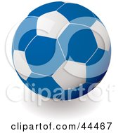Royalty Free RF Clip Art Of A Blue And White Soccer Ball Football by michaeltravers