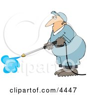 Male Worker Cleaning With A Professional Pressure Washer Clipart