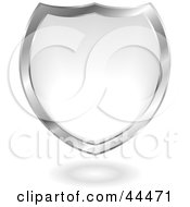 Royalty Free RF Clip Art Of A Silver And White Gel Blended Shield Design Element by michaeltravers
