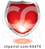 Royalty Free RF Clip Art Of A Silver And Red Gel Blended Shield Design Element by michaeltravers