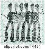 Clipart Illustration Of A Green Halftone Scene Of Abstract Men Dancing