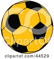 Clipart Illustration Of A Yellow Soccer Ball With Black Pieces