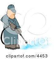 Professional Male Pressure Washer Spraying The Ground With Water Clipart