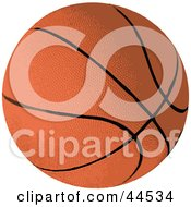 Clipart Illustration Of A Brown Basketball With Black Lines