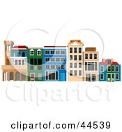 Clipart Illustration Of A Commercial Shopping Center With Colorful Buildings
