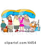 Friends And Family Going River Rafting Clipart by Dennis Cox