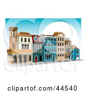 Clipart Illustration Of A Blue Sky And Sun Behind A Shopping Center by toonster