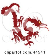 Clipart Illustration Of A Fierce Long Red Dragon