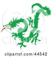 Clipart Illustration Of A Fierce Long Green Dragon