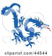 Clipart Illustration Of A Fierce Long Blue Dragon