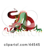 Fierce Long Green And Red Dragon